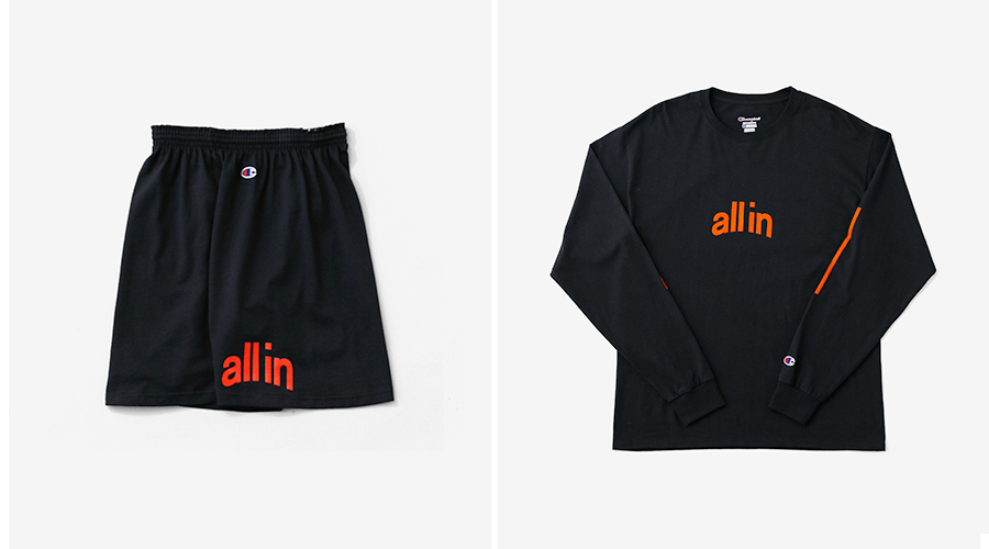 all in Champion Shorts Blk LS tee