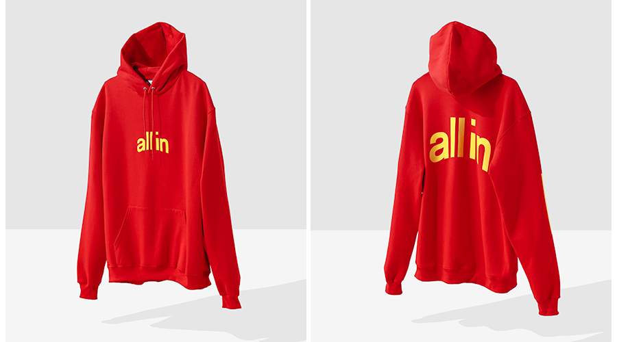 all in Champion red hoodie